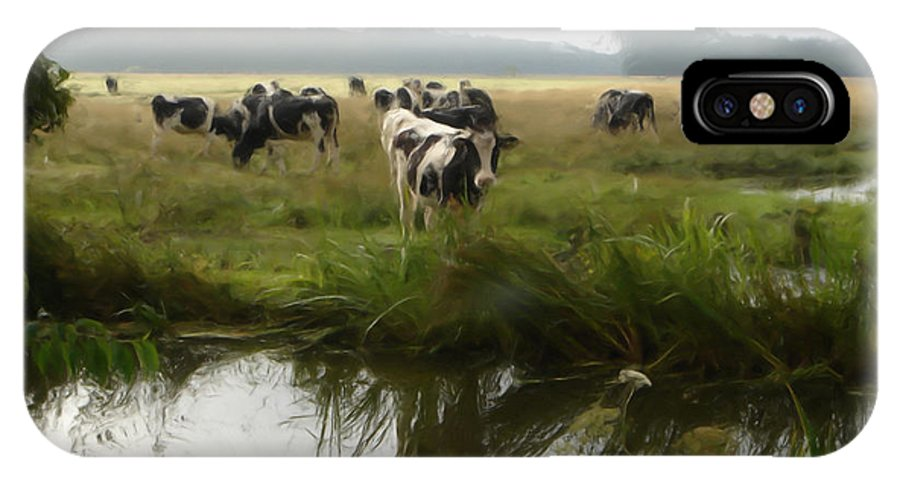 Landscape IPhone X Case featuring the painting Dutch Cows by Jan Daniels