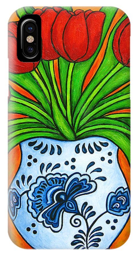 White IPhone X / XS Case featuring the painting Dutch Delight by Lisa Lorenz