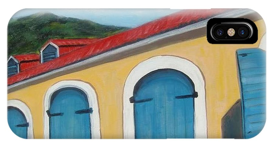 Doors IPhone X Case featuring the painting Dutch Doors Of St. Thomas by Laurie Morgan