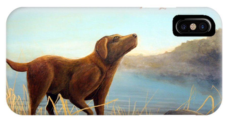 Chocolate Lab Painting IPhone Case featuring the Dutch by Rick Huotari
