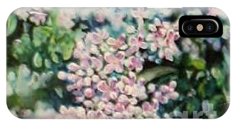 Lilacs IPhone X Case featuring the painting Dwarf Korean Lilac by Karen Sloan