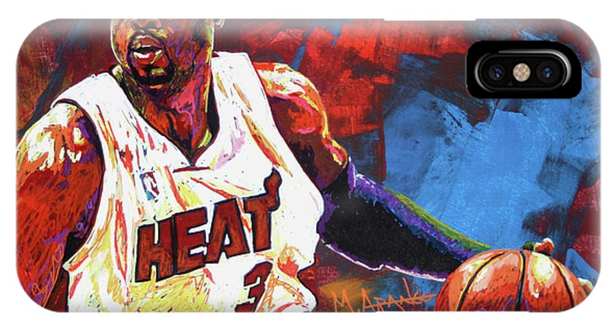 Dwyane Wade IPhone X Case featuring the painting Dwyane Wade 2 by Maria Arango