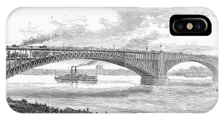19th Century IPhone X Case featuring the photograph Eads Bridge, St Louis by Granger