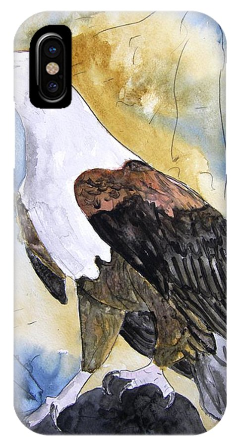 Realistic IPhone X Case featuring the painting Eagle by Derek Mccrea