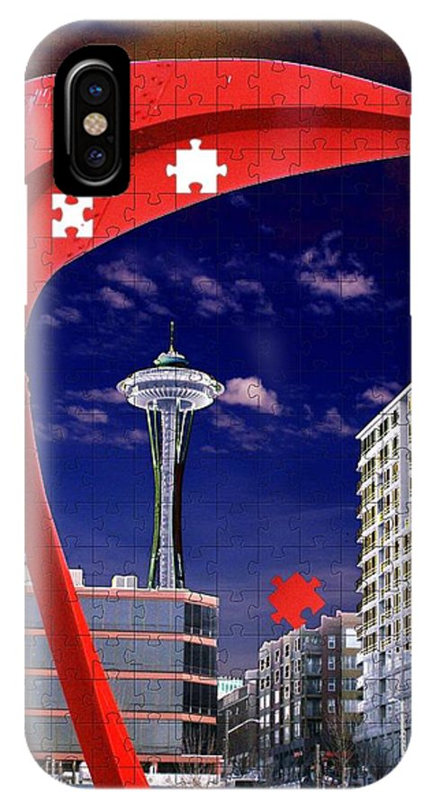Seattle IPhone X Case featuring the digital art Eagle Needle by Tim Allen