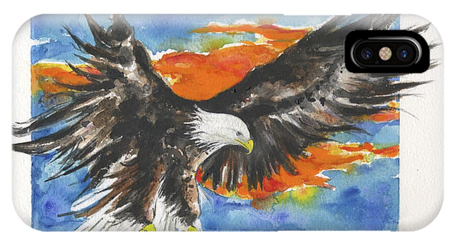Eagle IPhone X / XS Case featuring the painting Eagle Of The Resurrection by Lynne Beard