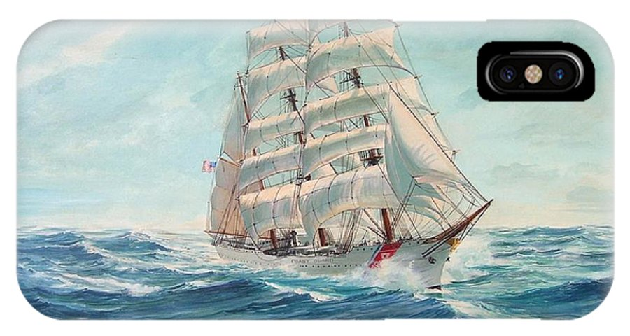Coast Guard Training Ship - Eagle Newport IPhone X Case featuring the painting Sailing Eagle by Perry's Fine Art