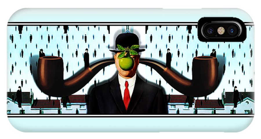 Magritte IPhone X Case featuring the painting Ear Smoking Apple Guy Standing In The Man Rain by Gravityx9 Designs