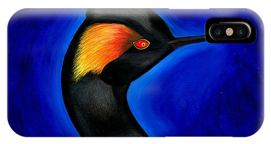 Duck IPhone X Case featuring the painting Eared Grebe Duck by Fanny Diaz