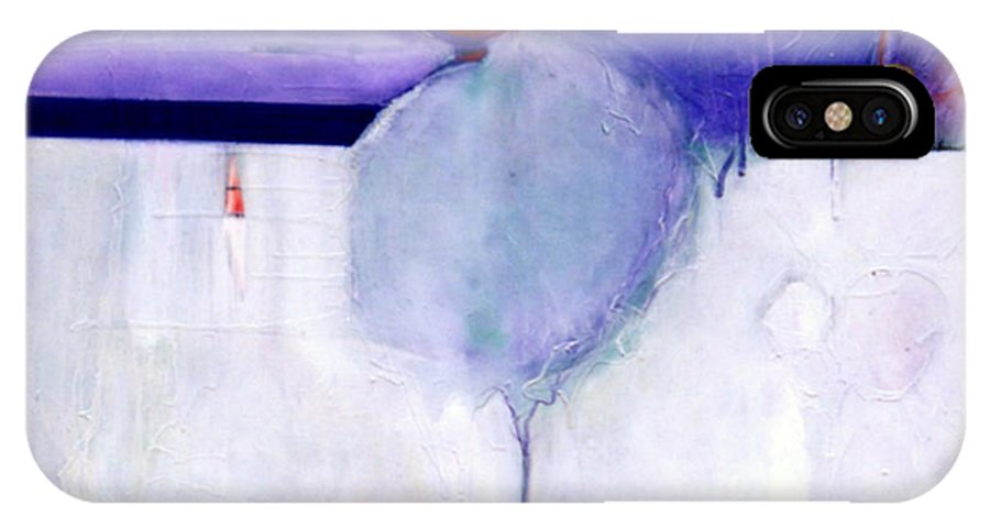Abstract IPhone Case featuring the painting Early Blob 1 Optic Illusion by Marlene Burns