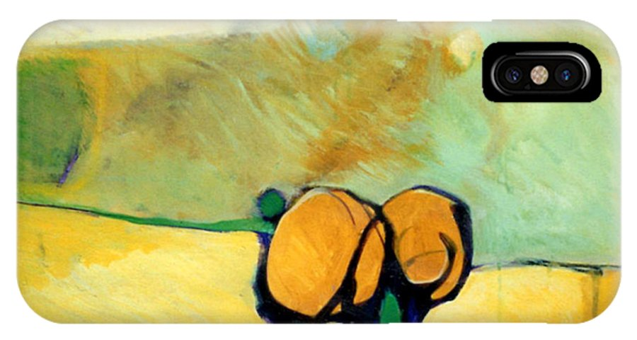 Abstract IPhone X Case featuring the painting Early Blob 2 Jump Rope by Marlene Burns