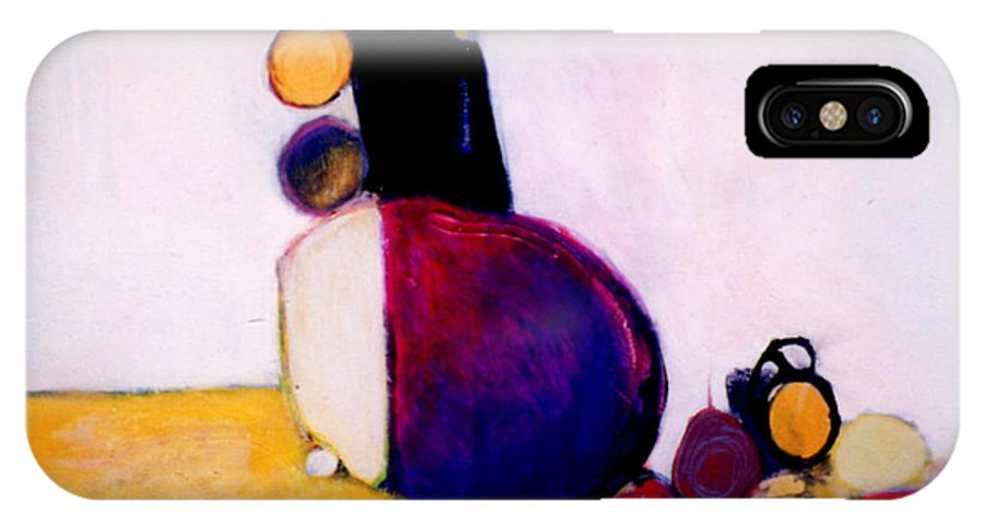 Abstract IPhone X Case featuring the painting Early Blob Having A Ball by Marlene Burns