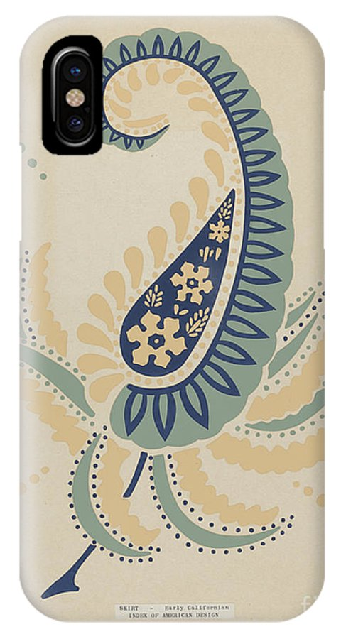 """IPhone X Case featuring the drawing Early Californian Skirt From The Portfolio """"decorative Art Of Spanish California"""" by American 20th Century"""