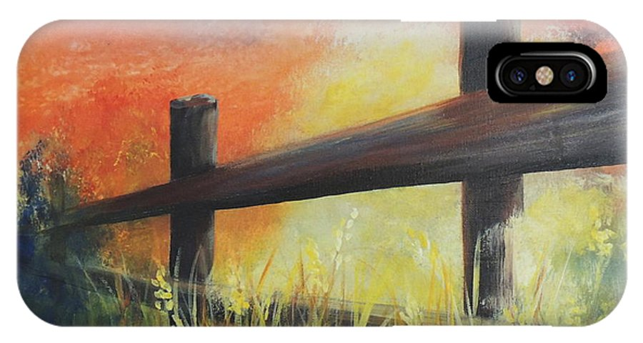 Landscape IPhone X Case featuring the painting Early Morn by Connie Townsend