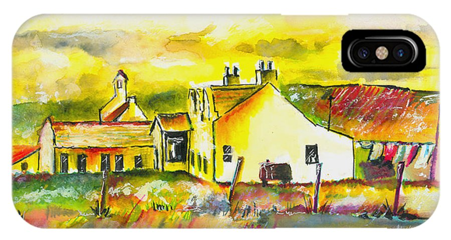 Barn IPhone X Case featuring the painting Early Morning by Arline Wagner