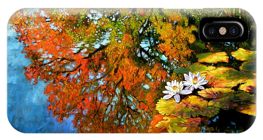 Landscape IPhone X / XS Case featuring the painting Early Morning Fall Colors by John Lautermilch
