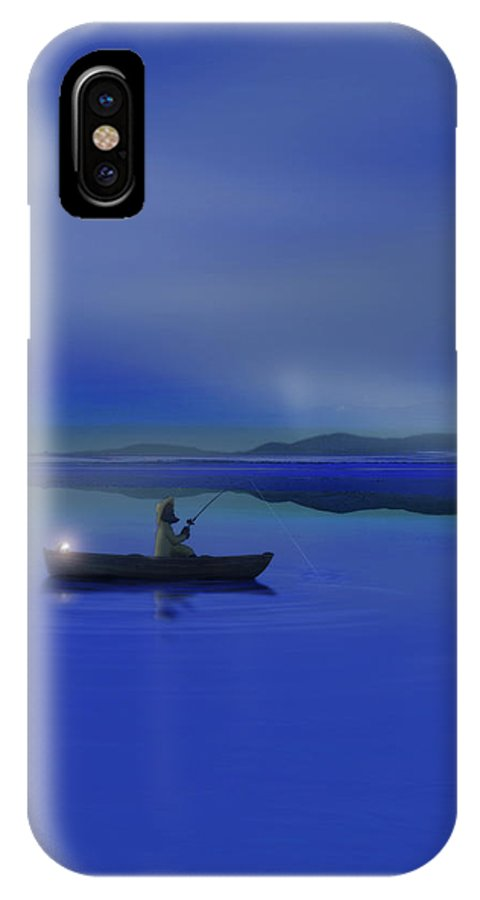 Fisherman IPhone X Case featuring the digital art Fisherman - Early Riser by Gravityx9 Designs