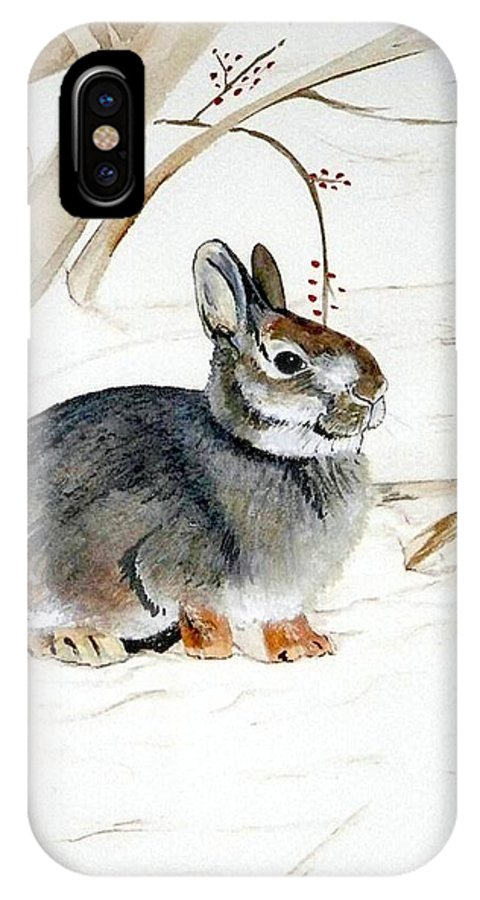 Rabbit IPhone X Case featuring the painting Early Snow by Debra Sandstrom