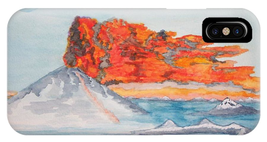 The Sea IPhone X Case featuring the painting Earth In Action by Connie Valasco