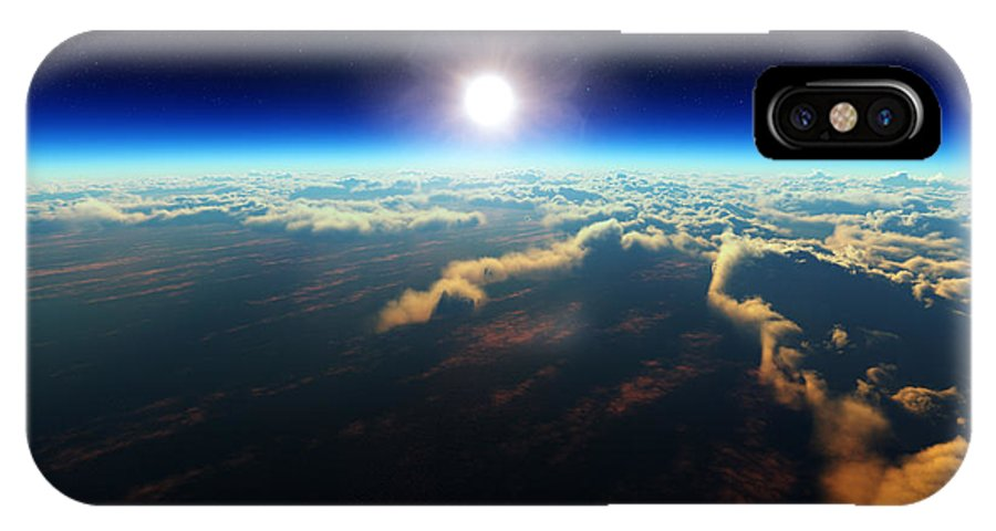 Earth IPhone X Case featuring the digital art Earth Sunrise From Outer Space by Johan Swanepoel
