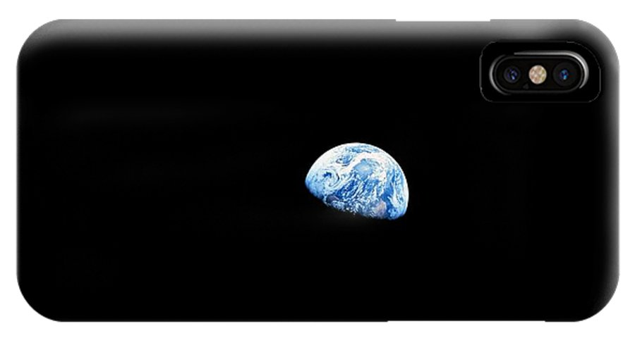 Earth IPhone X Case featuring the photograph Earthrise Over Moon, Apollo 8 by Nasa