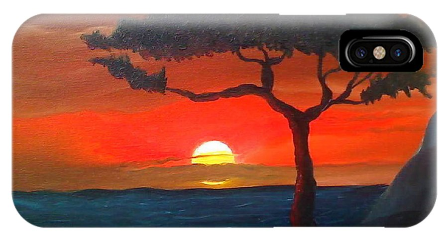 Africa! IPhone Case featuring the painting East African Sunset by Portland Art Creations