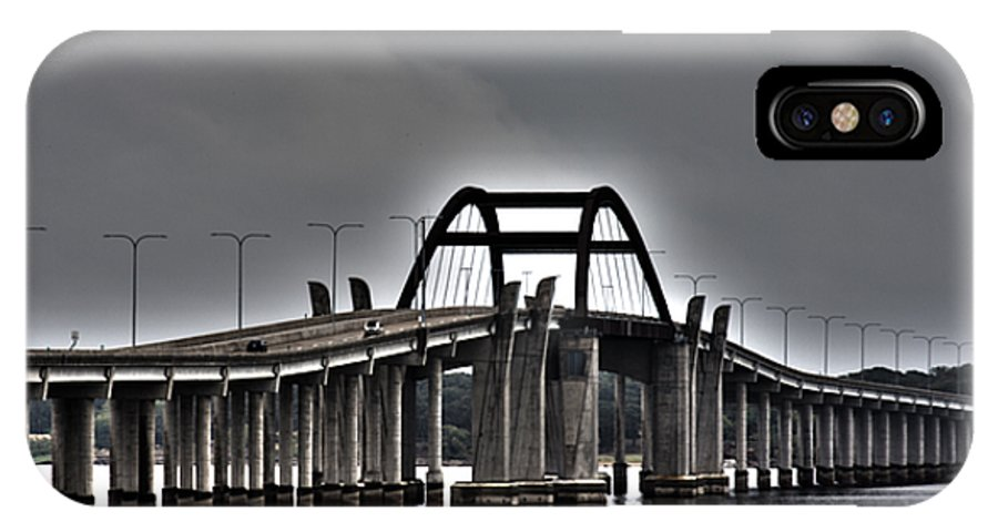 Lewisville Lake Toll Bridge IPhone X / XS Case featuring the photograph East-west Connection by Douglas Barnard