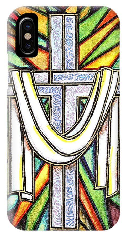 Cross IPhone X / XS Case featuring the painting Easter Cross 5 by Jim Harris