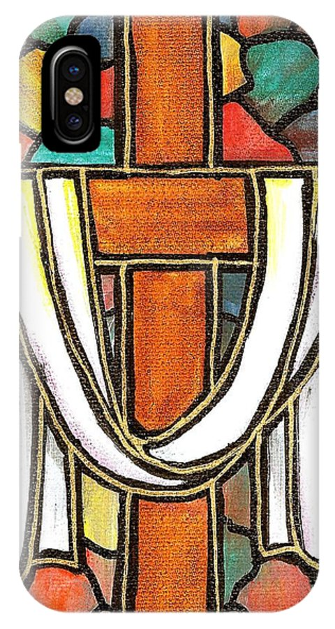 Easter IPhone X Case featuring the painting Easter Cross 6 by Jim Harris