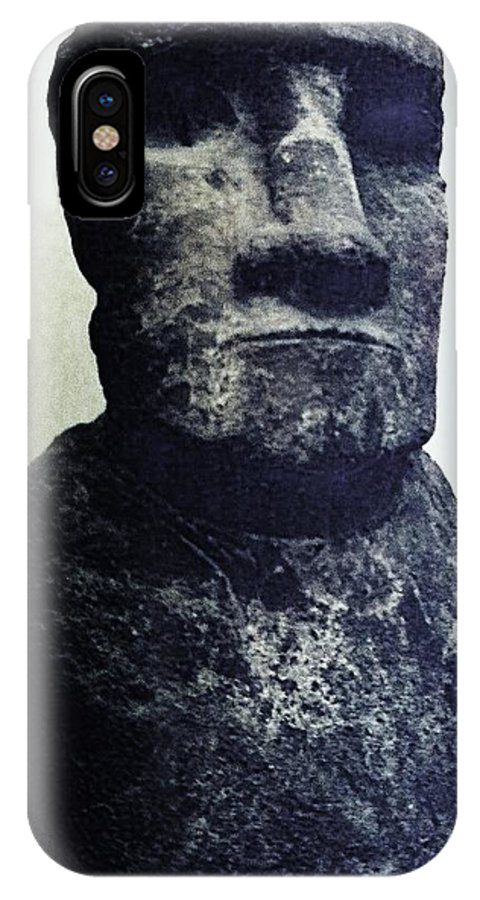 Easter Island IPhone X Case featuring the painting Easter Island Stone Statue by Eric Schiabor