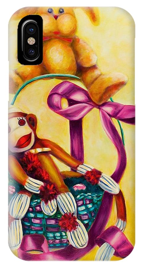 Easter IPhone X Case featuring the painting Easter Made Of Sockies by Shannon Grissom