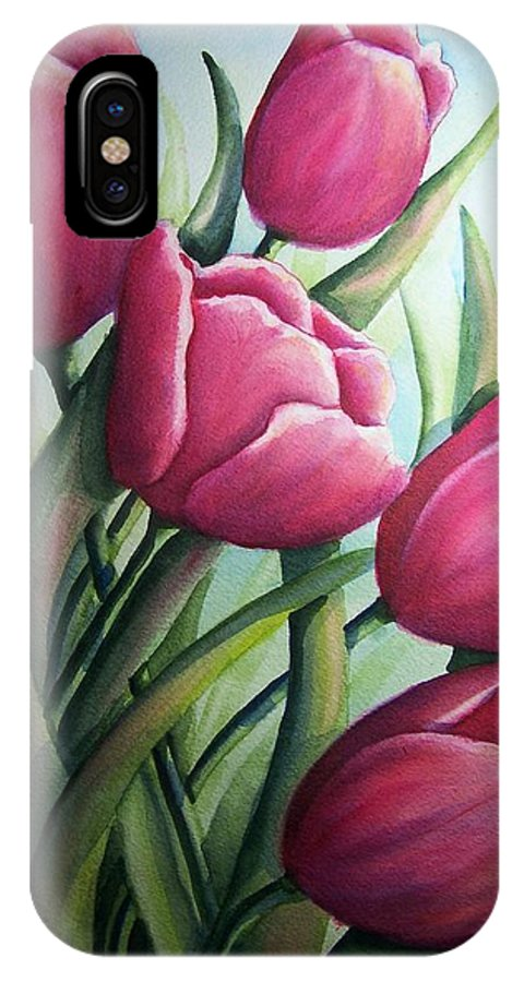 Easter IPhone X Case featuring the painting Easter Tulips by Conni Reinecke