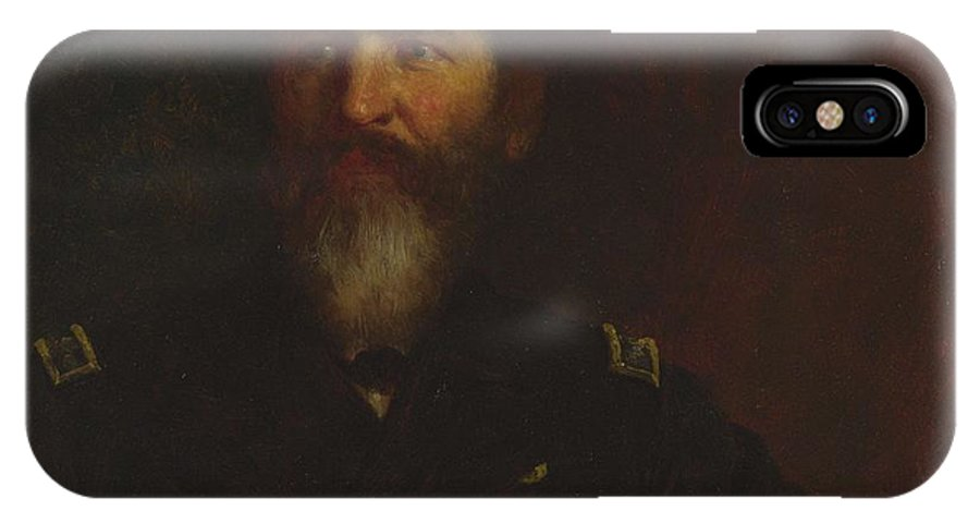 Man IPhone X Case featuring the painting Eastman Johnson 1824 - 1906 Portrait Of Commodore Philip Carrigan Johnson, Jr. by Eastman Johnson