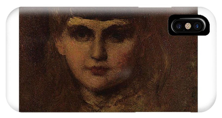 Girl IPhone X Case featuring the painting Eastman Johnson 1824-1906 Young Girl by Artistic Rifki