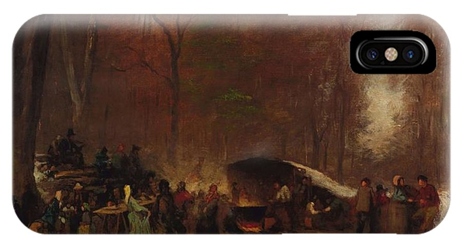 Nature IPhone X Case featuring the painting Eastman Johnson - A Different Sugaring Off - Circa 1865 by Eastman Johnson