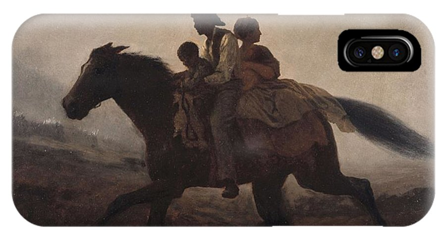Man IPhone X Case featuring the painting Eastman Johnson - A Ride For Liberty--the Fugitive Slaves 1862 by Eastman Johnson