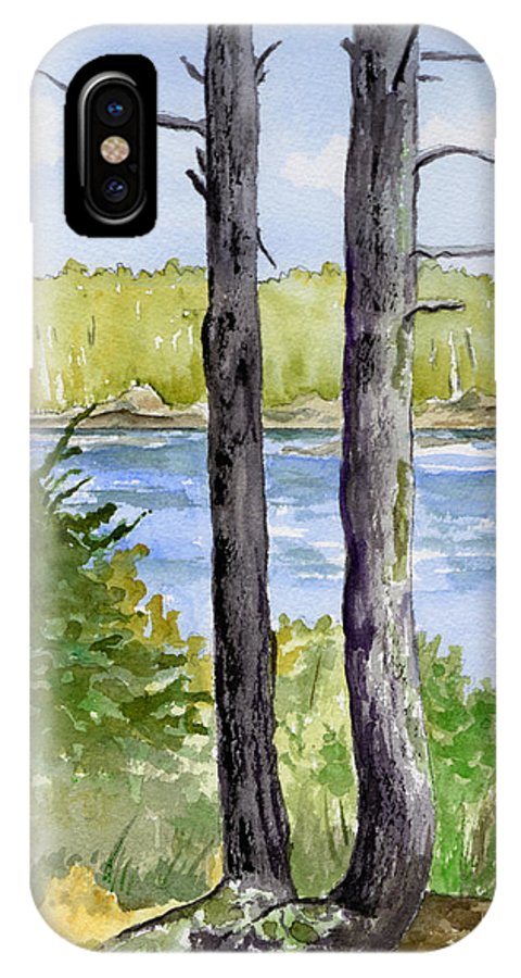 Landscape Seascape Trees Ocean Sea Maine IPhone X Case featuring the painting Eastport Maine Coastal Afternoon by Brenda Owen