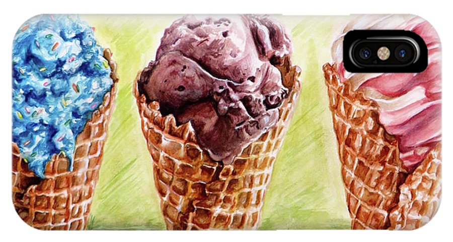 Ice Cream IPhone X Case featuring the painting Eat It Before It Melts by Camellia Jiles