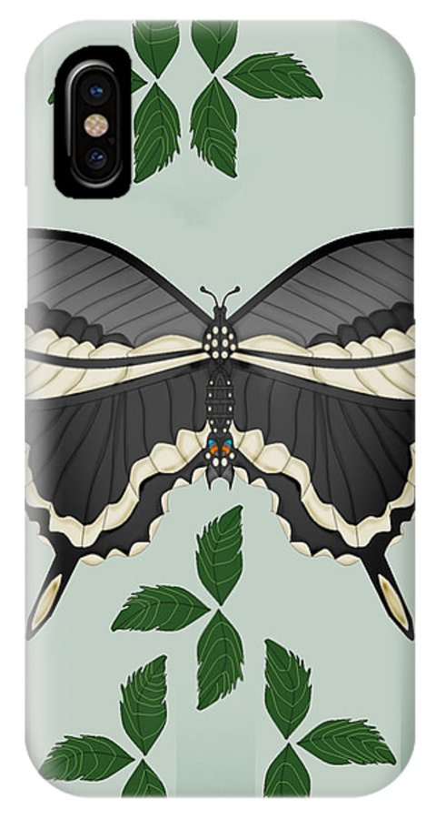 Butterfly IPhone X Case featuring the painting Ebony And Ivory by Anne Norskog
