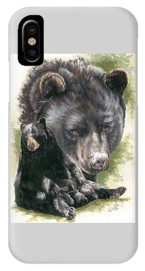 Black Bear IPhone X Case featuring the mixed media Ebony by Barbara Keith