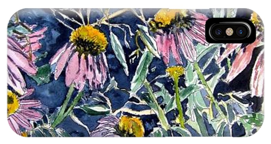 Echinacea IPhone X Case featuring the painting Echinacea Cone Flower Art by Derek Mccrea