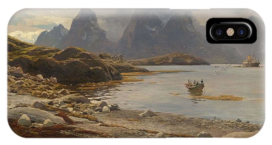 Nature IPhone X Case featuring the painting Eckenbrecher, Karl Paul Themistokles Von Athens 1842 - 1921 Goslar Norwegian Fjord by Karl Paul Themistokles Von