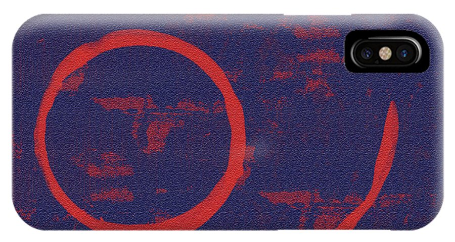 Red IPhone X Case featuring the painting Eclipse by Julie Niemela