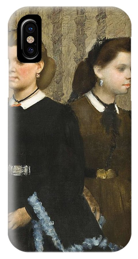 Girl IPhone X Case featuring the painting Edgar Degas - The Bellelli Sisters Giovanna And Giuliana Bellelli by Edgar Dega