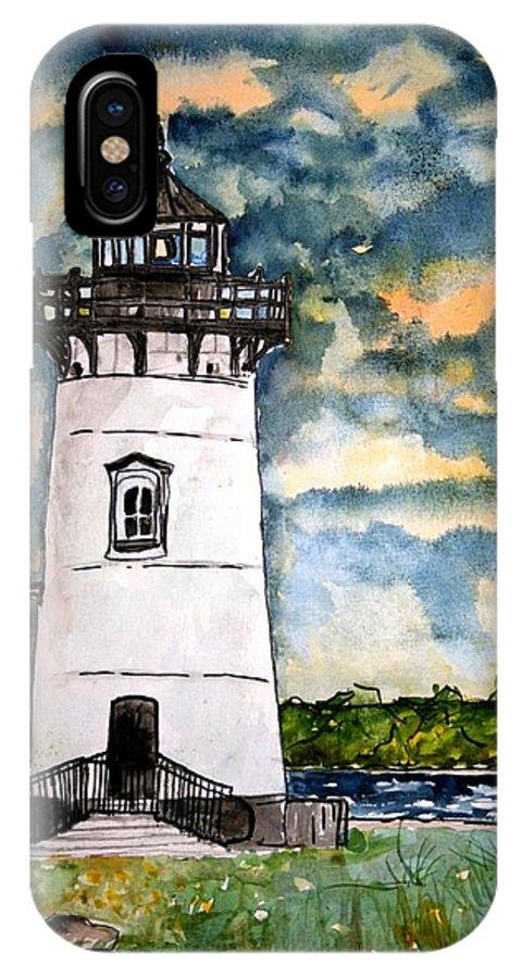 Lighthouse IPhone X Case featuring the painting Edgartown Lighthouse Martha's Vineyard Mass by Derek Mccrea