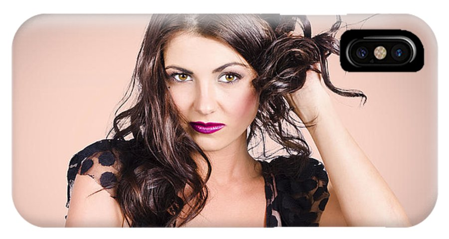 Hair IPhone X / XS Case featuring the photograph Edgy Hair Fashion Model With Brunette Hairstyle by Jorgo Photography - Wall Art Gallery