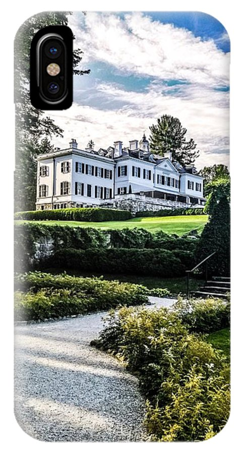 Edith Wharton Estate Historical Building Luxurylifestyle Mansion House Sky And Clouds Architecture Building Exterior Built Structure Cloud - Sky Day Grass Growth Landscape_photography Landscapes Nature No People Outdoors Plant Sky Sky And Trees Travel Destinations Tree Water IPhone X Case featuring the photograph Edith Wharton Mansion by Mark Sellers
