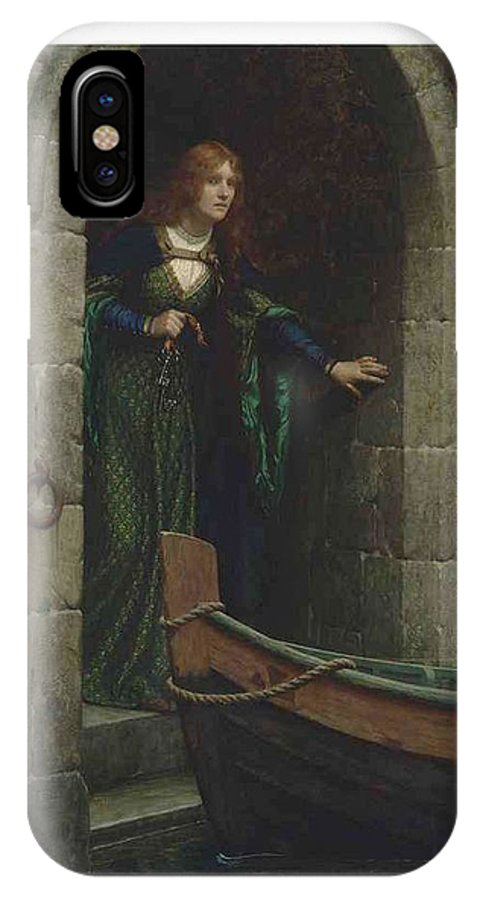 Girl IPhone X Case featuring the painting Edmund Blair Leighton 1852-1922 The Keys by Edmund Blair Leighton