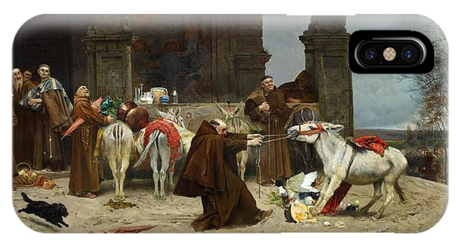 Man IPhone X Case featuring the painting Eduardo Zamacois Y Zabala , Returning To The Monastery 1868 by Eduardo Zamacois y Zabala