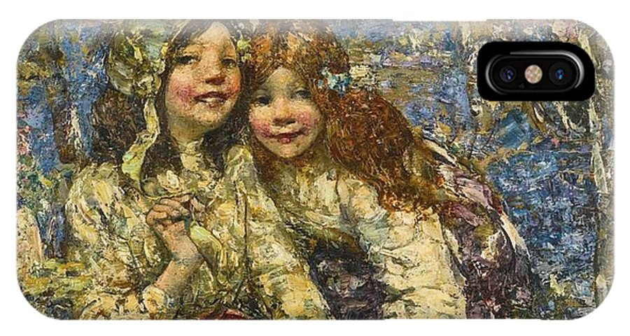 Girl IPhone X Case featuring the painting Edward Atkinson Hornel 1864-1933 The Bluebell Wood by Edward Atkinson Hornel